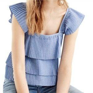 J. Crew, Chambray Pleated Ruffle Blue Top, M